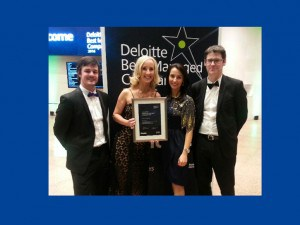 Members of the EPS team with Deloitte Best Managed Companies certificate. LtR: Neil O'Toole, Joanne Treacy, Katie Murphy & Denis Buckley.