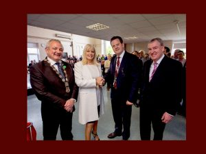 Mary Mitchell O'Connor TD pictured here with Neal Johnston, Managing Director, Exertis Supply Chain Services,  Jerry O'Dea, Metropolitan  Mayor of Limerick and Kevin Sherry, Executive Director of Enterprise Ireland.